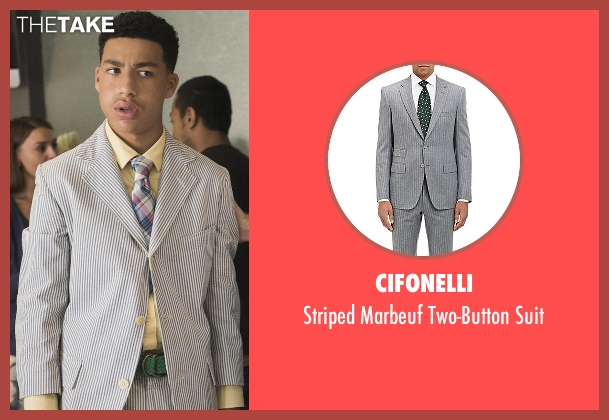 Cifonelli gray suit from Black-ish seen with  Andre Johnson, Jr. (Marcus Scribner)