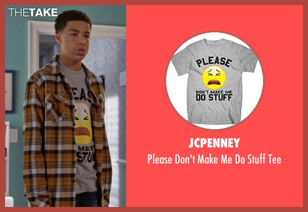 JCPenney gray tee from Black-ish seen with  Andre Johnson, Jr. (Marcus Scribner)