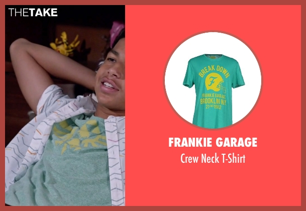 Frankie Garage green t-shirt from Black-ish seen with  Andre Johnson, Jr. (Marcus Scribner)
