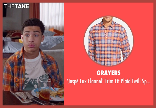 Grayers orange shirt from Black-ish seen with  Andre Johnson, Jr. (Marcus Scribner)