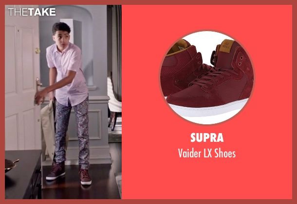 Supra red shoes from Black-ish seen with  Andre Johnson, Jr. (Marcus Scribner)