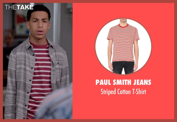 Paul Smith Jeans red t-shirt from Black-ish seen with  Andre Johnson, Jr. (Marcus Scribner)