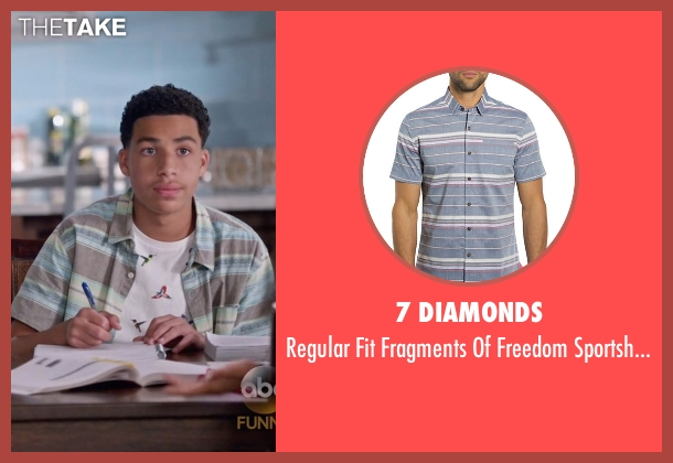 7 Diamonds sportshirt from Black-ish seen with  Andre Johnson, Jr. (Marcus Scribner)