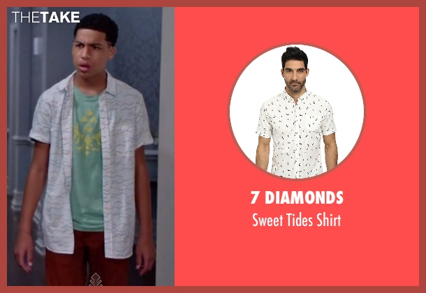 7 Diamonds white shirt from Black-ish seen with  Andre Johnson, Jr. (Marcus Scribner)