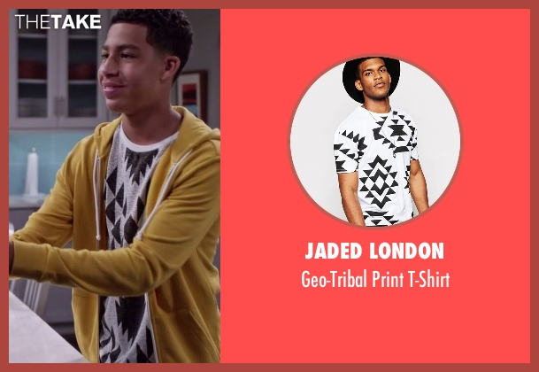 Jaded London white t-shirt from Black-ish seen with  Andre Johnson, Jr. (Marcus Scribner)