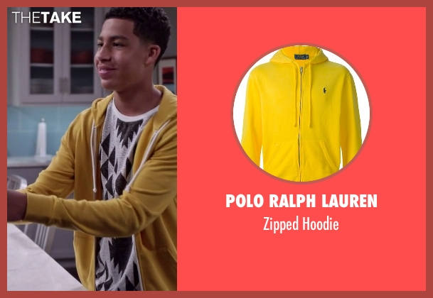 Polo Ralph Lauren yellow hoodie from Black-ish seen with  Andre Johnson, Jr. (Marcus Scribner)
