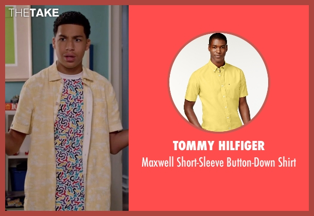 Tommy Hilfiger yellow shirt from Black-ish seen with  Andre Johnson, Jr. (Marcus Scribner)