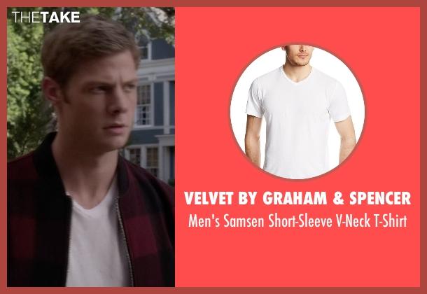 Velvet By Graham & Spencer white t-shirt from Pretty Little Liars seen with  Andrew Campbell  (Brandon Jones )
