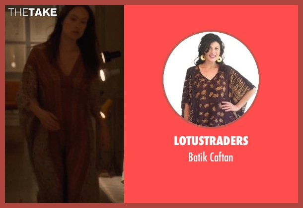 Lotustraders brown caftan from Vinyl seen with  Devon Finestra (Olivia Wilde)