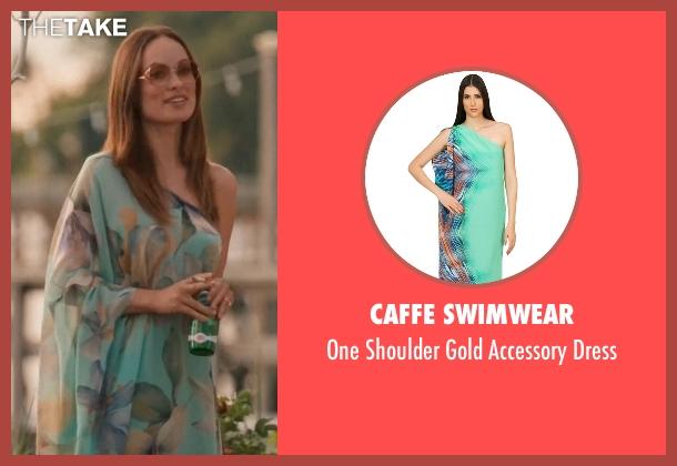 Caffe Swimwear green dress from Vinyl seen with  Devon Finestra (Olivia Wilde)