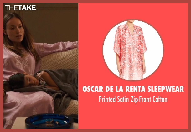 Oscar De La Renta Sleepwear pink caftan from Vinyl seen with  Devon Finestra (Olivia Wilde)