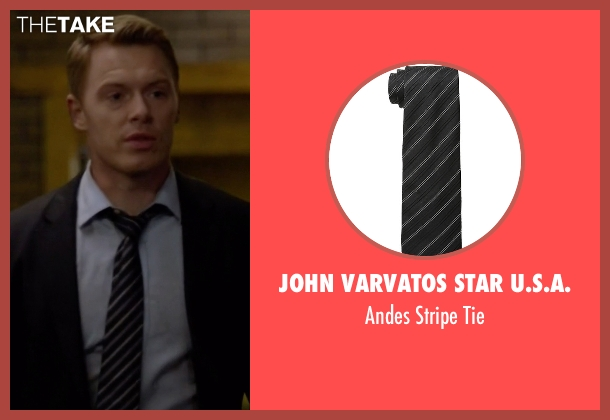 John Varvatos Star U.S.A. black tie from The Blacklist seen with  Donald Ressler (Diego Klattenhoff)