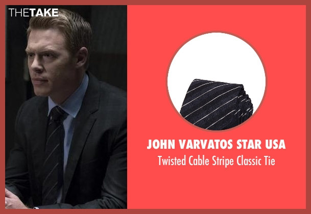 John Varvatos Star USA blue tie from The Blacklist seen with  Donald Ressler (Diego Klattenhoff)