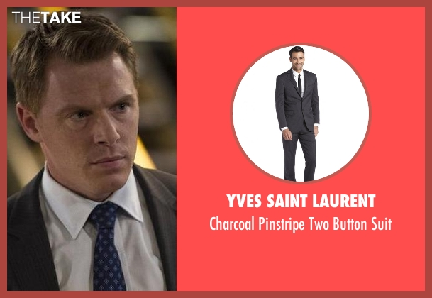 Yves Saint Laurent gray suit from The Blacklist seen with  Donald Ressler (Diego Klattenhoff)