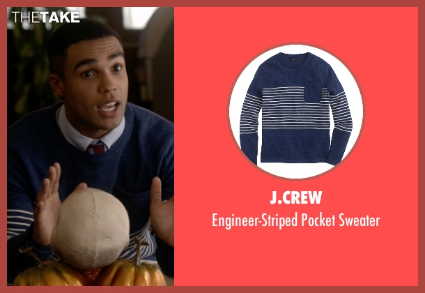 J.Crew blue sweater from Scream Queens seen with  Earl Grey  (Lucien Laviscount)