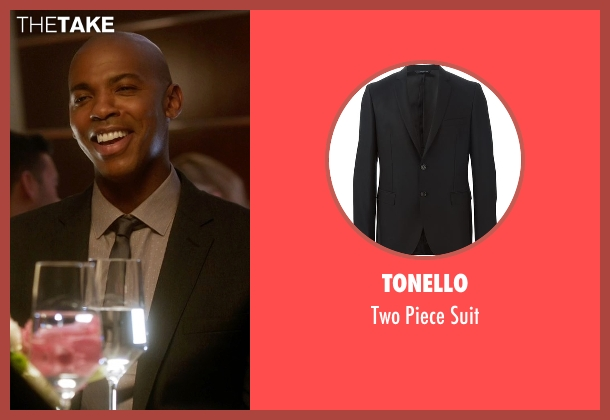 Tonello black suit from Supergirl seen with  James Olsen (Mehcad Brooks)
