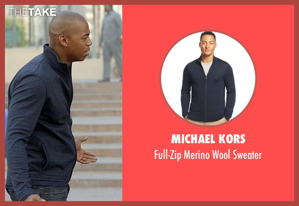 Michael Kors blue sweater from Supergirl seen with  James Olsen (Mehcad Brooks)