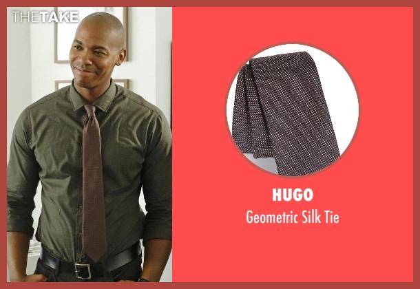 Hugo brown tie from Supergirl seen with  James Olsen (Mehcad Brooks)