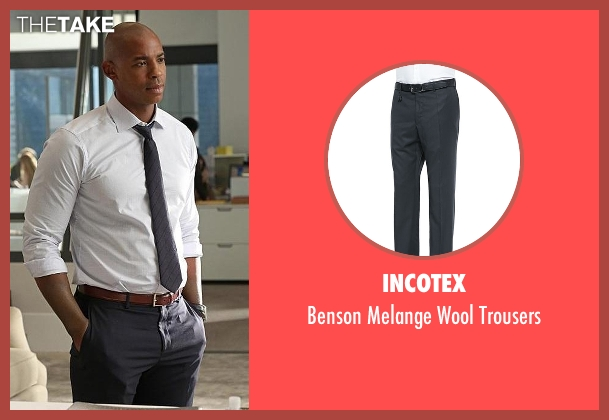 Incotex gray trousers from Supergirl seen with  James Olsen (Mehcad Brooks)