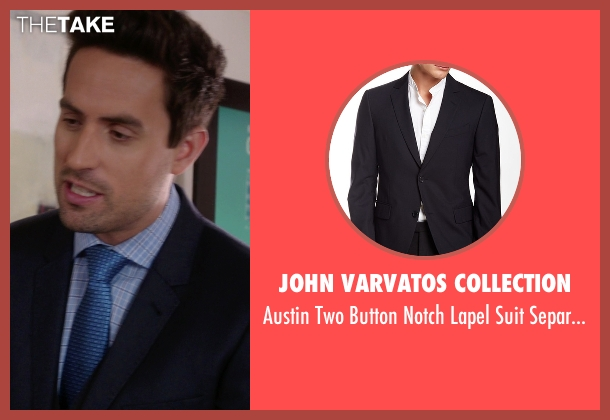 John Varvatos Collection black jacket from The Mindy Project seen with  Jeremy Reed (Ed Weeks)