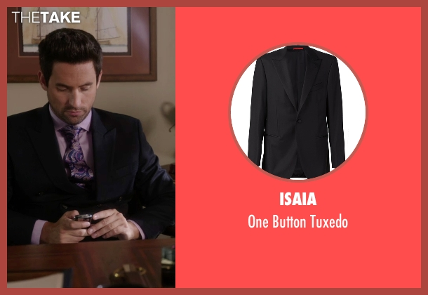 Isaia black tuxedo from The Mindy Project seen with  Jeremy Reed (Ed Weeks)
