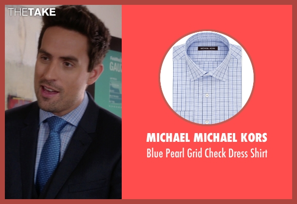 Michael Michael Kors blue shirt from The Mindy Project seen with  Jeremy Reed (Ed Weeks)