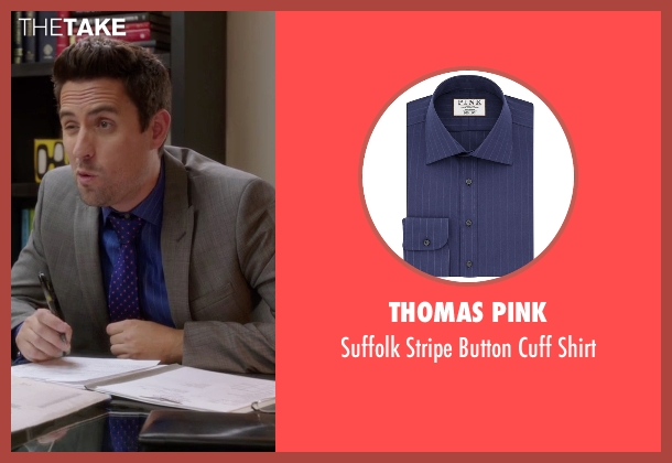 Thomas Pink blue shirt from The Mindy Project seen with  Jeremy Reed (Ed Weeks)