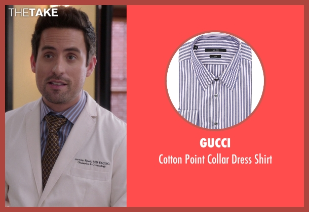 Gucci blue shirt from The Mindy Project seen with  Jeremy Reed (Ed Weeks)