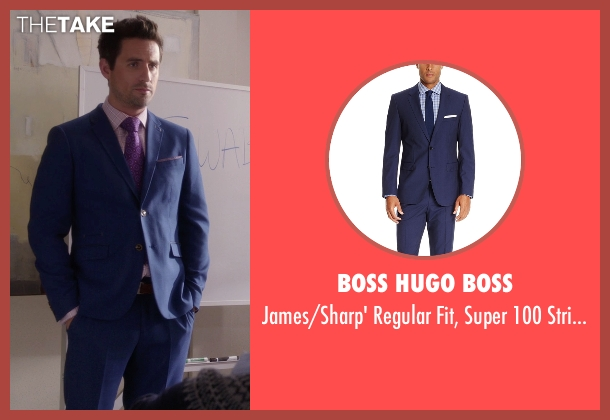 Boss Hugo Boss blue suit from The Mindy Project seen with  Jeremy Reed (Ed Weeks)