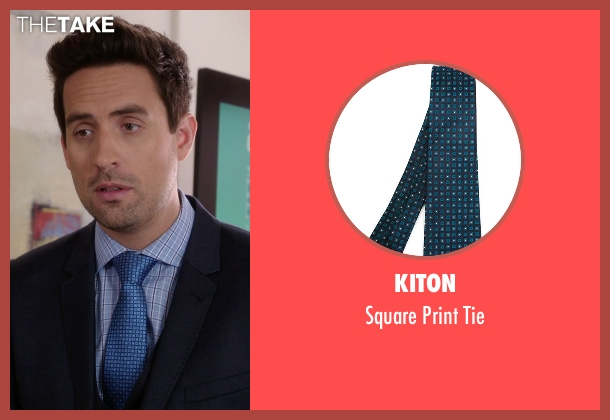 Kiton blue tie from The Mindy Project seen with  Jeremy Reed (Ed Weeks)