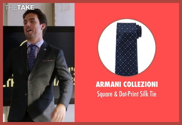 Armani Collezioni blue tie from The Mindy Project seen with  Jeremy Reed (Ed Weeks)