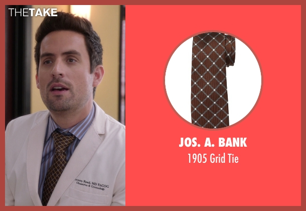JoS. A. Bank brown tie from The Mindy Project seen with  Jeremy Reed (Ed Weeks)