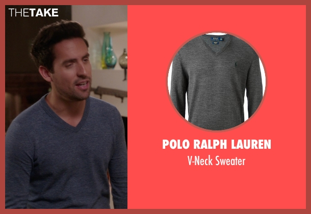 Polo Ralph Lauren gray sweater from The Mindy Project seen with  Jeremy Reed (Ed Weeks)