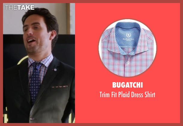 Bugatchi pink shirt from The Mindy Project seen with  Jeremy Reed (Ed Weeks)