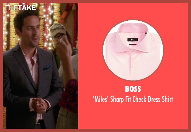 Boss pink shirt from The Mindy Project seen with  Jeremy Reed (Ed Weeks)