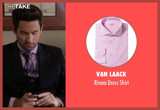 Van Laack pink shirt from The Mindy Project seen with  Jeremy Reed (Ed Weeks)