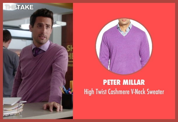 Peter Millar purple sweater from The Mindy Project seen with  Jeremy Reed (Ed Weeks)
