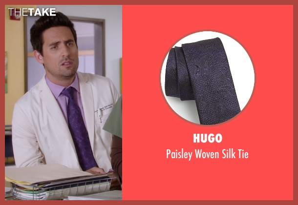 Hugo purple tie from The Mindy Project seen with  Jeremy Reed (Ed Weeks)
