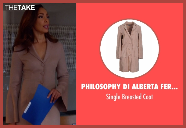 Philosophy Di Alberta Ferretti beige coat from Suits seen with Jessica Pearson (Gina Torres)