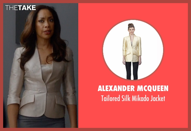 Alexander McQueen beige jacket from Suits seen with Jessica Pearson (Gina Torres)