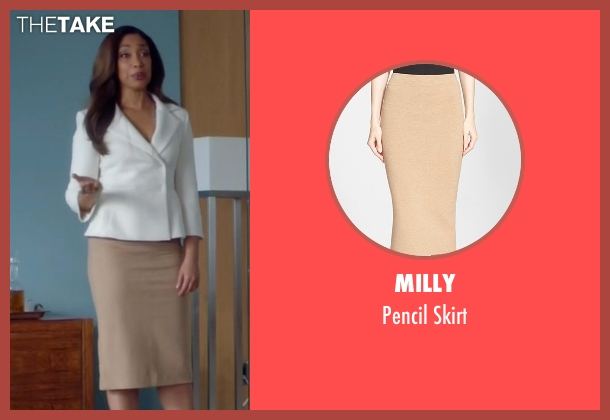 Milly beige skirt from Suits seen with  Jessica Pearson (Gina Torres)