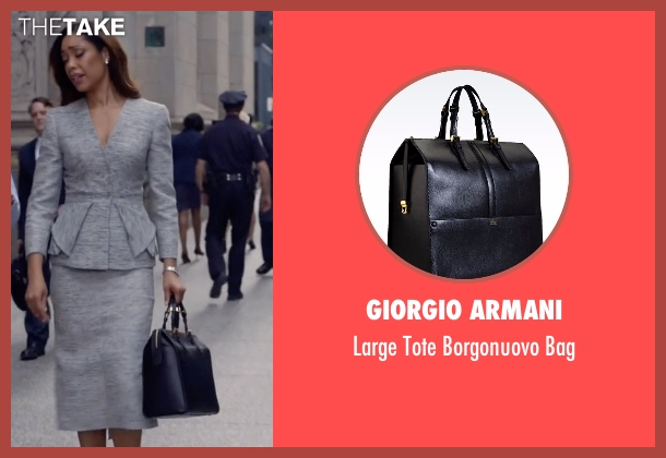 Giorgio Armani black bag from Suits seen with  Jessica Pearson (Gina Torres)