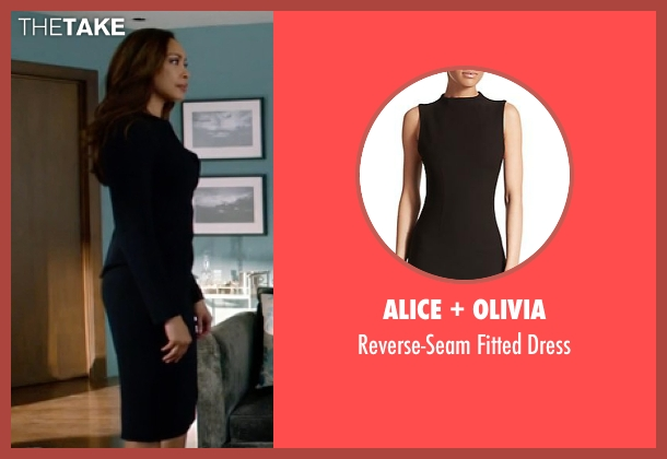 Alice + Olivia black dress from Suits seen with Jessica Pearson (Gina Torres)