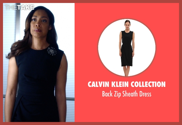 Calvin Klein Collection black dress from Suits seen with Jessica Pearson (Gina Torres)