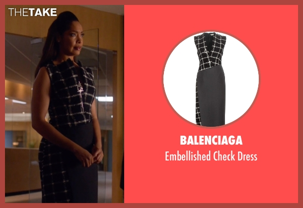 Balenciaga black dress from Suits seen with  Jessica Pearson (Gina Torres)