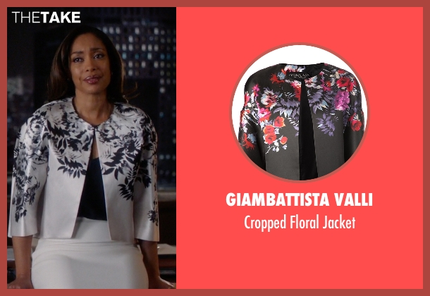 Giambattista Valli black jacket from Suits seen with Jessica Pearson (Gina Torres)