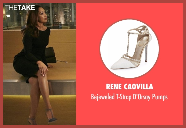 Rene Caovilla black pumps from Suits seen with Jessica Pearson (Gina Torres)