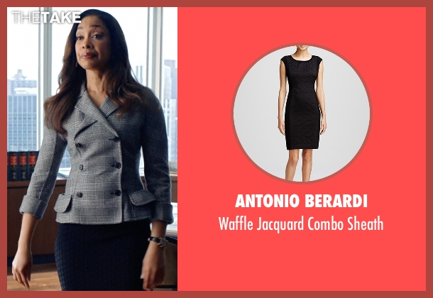 Antonio Berardi black sheath from Suits seen with  Jessica Pearson (Gina Torres)