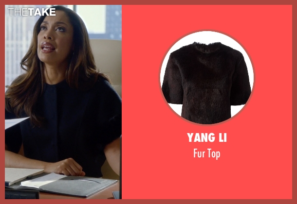 Yang Li black top from Suits seen with  Jessica Pearson (Gina Torres)