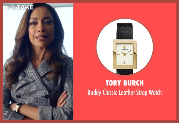 Tory Burch black watch from Suits seen with  Jessica Pearson (Gina Torres)